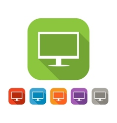 Color set of flat ccomputer icon vector