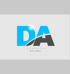 Combination letter da d a in grey blue color vector