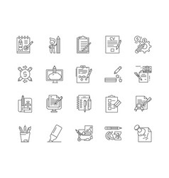Copywriting line icons signs set outline vector