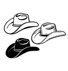 cowboy hat set american traditional western vector image