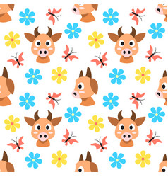 cows and flowers and butterflies seamless pattern vector image