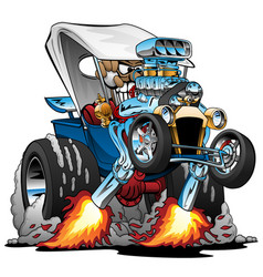 Custom t-bucket roadster hotrod cartoon vector