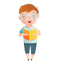 cute little boy wearing big glasses reading aloud vector image