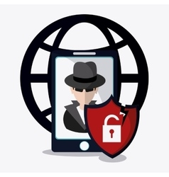 Data protection and yber security system design vector