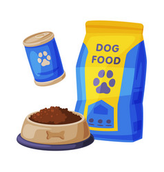 Dog food set pet animal dried canned food vector