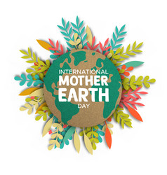 earth day card paper cut leaves and world map vector image