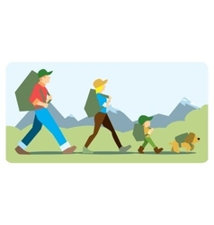 Family going to the mountain with backpacks vector