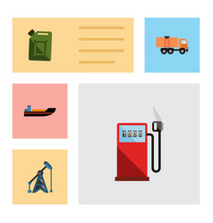 flat icon fuel set of boat petrol van and other vector image