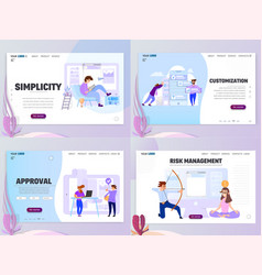 Flat style business scene with tiny people set vector