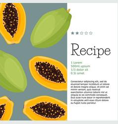 Fresh whole and half papaya fruits simple vector