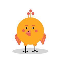 Funny cartoon chicken character in geometric shape vector