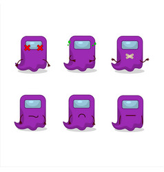 Ghost among us purple cartoon character with nope vector