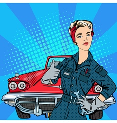 Girl with tools vintage american car pop art vector