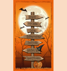 Halloween several wooden street signs card vector