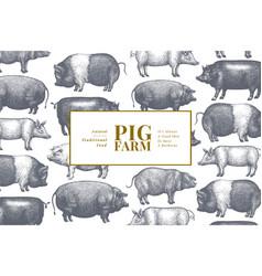 Hand drawn farm animals background pig design vector