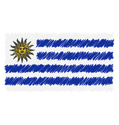 hand drawn national flag of uruguay isolated on a vector image