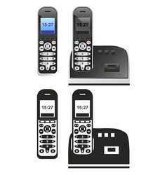 handset and phone on white vector image