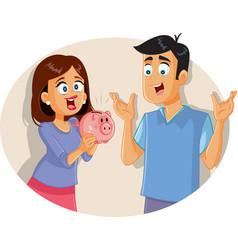 Happy couple saving money holding piggy bank vector
