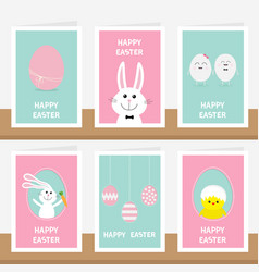 Happy easter greeting card set on shelf vector