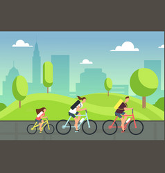 happy family on bicycles healthy summer cycling vector image