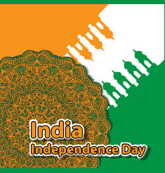 happy independence day india mandala flag the vector image