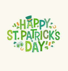 happy st patricks day doodle lettering vector image