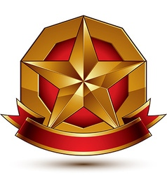 Heraldic golden symbol with stylized pentagonal vector
