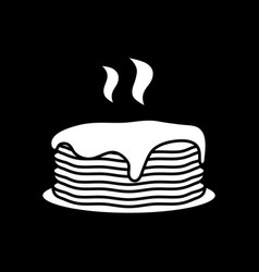 Hot pancakes with syrup dark mode glyph icon vector