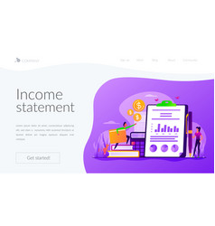 income statement landing page template vector image