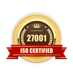 Iso 27001 certified medal - information security vector