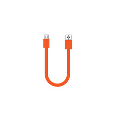 Letter u usb cable with orange color template vector