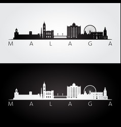 malaga skyline and landmarks silhouette black vector image