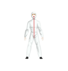 Man in white protective suit and and gas mask vector