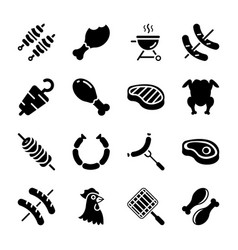Meat glyph icons pack vector
