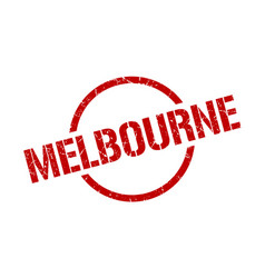 Melbourne stamp melbourne grunge round isolated vector