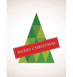 Merry Christmas colorful mosaic tree vector image