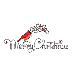 Merry christmas hand lettering with red robin bird vector image