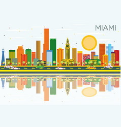 Miami skyline with color buildings blue sky and vector