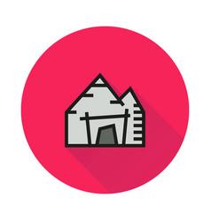 mining mine entrance icon on round background vector image