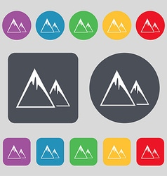 Mountain Icon sign A set of 12 colored buttons vector