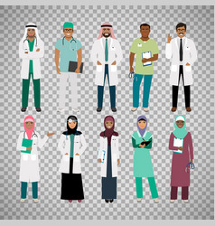 Muslims healthcare staff on transparent background vector