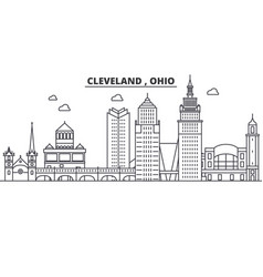 Ohio cleveland architecture line skyline vector