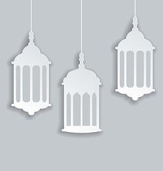 Paper arabic lamp with shadow for ramadan kareem vector
