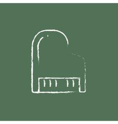 Piano icon drawn in chalk vector image