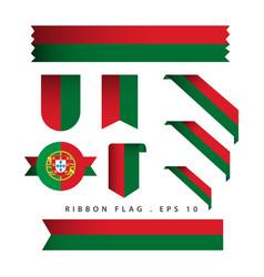 Portugal ribbon flag template design vector