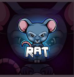 Rat mascot esport logo design vector