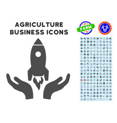 Rocket startup icon with agriculture set vector