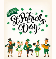 saint patrick s day template with funny dancing vector image
