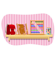 Schoolbag and abacus on shelf vector