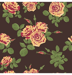 Seamless flower yellow red splashes roses pattern vector
